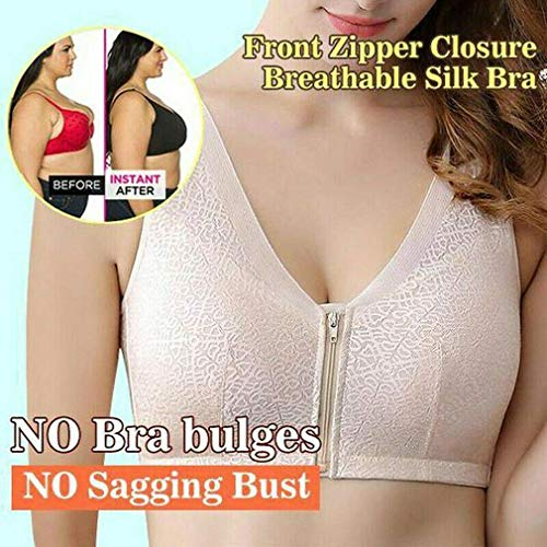 VigasMart Front Zipper Closure Wirefree Extra Breathable Silk Bra The Gentle Bra Curve Bra (Gray,XXXL 40C/40D-42A/42B)