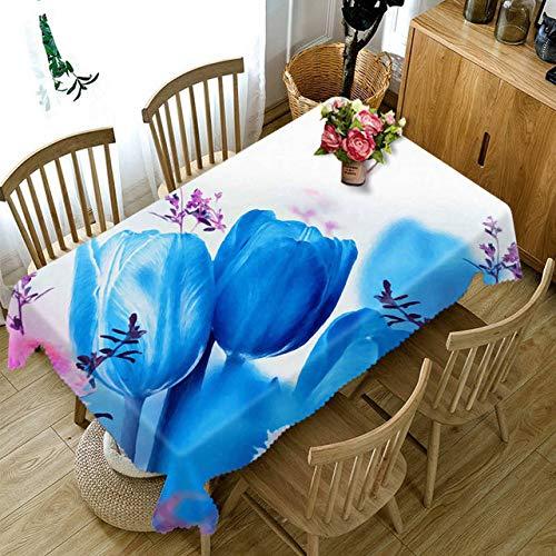Aututer 3D Tischdecke Blaue Blumenmuster staubdichte Dicke Baumwolltischdecke