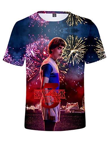 Camiseta Stranger Things Niño, Camiseta Stranger Things Mujer Unisex Impresión 3D Manga Corta T Shirt Hombre Abecedario Impresión T-Shirt Niña Camisa de Verano Regalo Camisetas y Tops (H,XXS)
