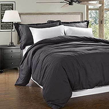 Simple&Opulence 100% Linen Stone Washed 3pcs Basic Style Solid Duvet Cover Set (Queen, Dark Grey)