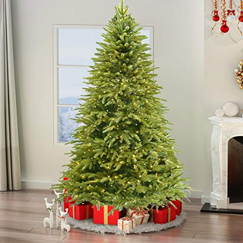 Lovinouse 6FT Artificial Christmas Tree, Warm White Light Green Xmas Tree, Metal Stand, Easy to Assemble Christmas Pine Tree for Holiday Decoration