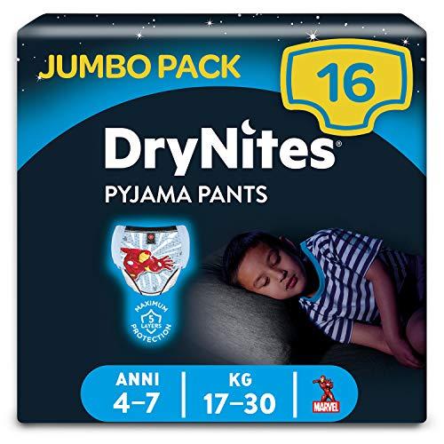 Huggies DryNites hochabsorbierende Nachtwindeln bei Bettnässen, für Jungen 4-7Jahre, 16 Stück