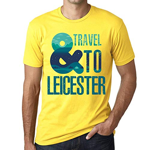 One in the City Hombre Camiseta Vintage T-Shirt Gráfico and Travel To Leicester Amarillo