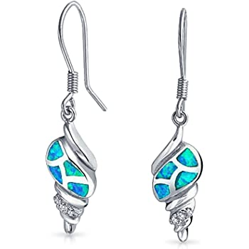 14mm Created Blue Opal Inlay Sea Turtle Nautical Earrings 925 Sterling Silver Womens