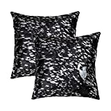 Set of 2, Natural Torino Scotland Handcrafted Soft Touch Natural Cowhide Pillow with Polyfil Insert and Zipper Closure, Black & Silver, 18 in x 18 in
