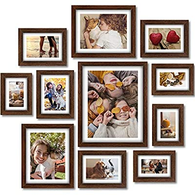 Homemaxs Picture Frames Set, 11 Pcs Picture Frames Collage, Wooden Frames with Mat, Photo Frames for Wall, Tabletop, Gallery, Home Decor, Four 4x6in, Four 5x7in, Two 8x10in, One 11x14in, Rustic Brown