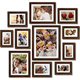 Homemaxs Picture Frames, 11 Pcs Picture Frame Set With Mat, Picture Frames Collage, Photo Frames for Wall, Tabletop, Gallery, Home Decor, Four 4x6in, Four 5x7in, Two 8x10in, One 11x14in, Black Walnut