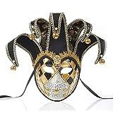 NICEWL Venecianas Mujer Máscara,Adultos Masquerade Máscara Cara Completa,Hecho A Mano Pintura Carnaval Antifaz,Disfraces de Fiesta Decoración,Negro