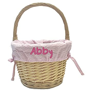 Custom Embroidered Natural Easter Basket with Liner  Pink