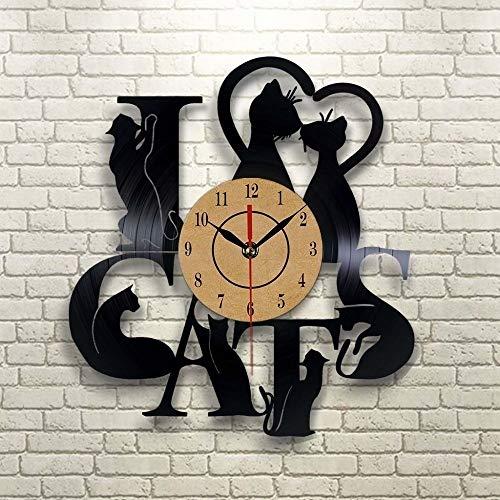 CHENWN Reloj de Pared con Registro de Vinilo Cat, Idea de Regalo para niños, Adultos, Hombres y Mujeres: diseño de Arte único