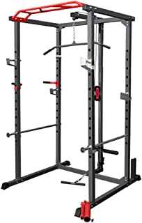 BLOODYRIPPA Power Cage with LAT Pull-Down Pulley System, 360 Degree Landmine, Dip Bars, Multifunctional Squat Rack Home Gy...
