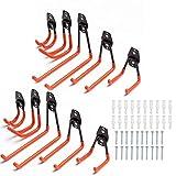 Garage Hooks, Tickas 10 Pcs Heavy Duty Steel Garage Storage Hooks, Wall Mount Assorted Utility Hooks, Double U Hook for Organizing Power Tools, Ladders, Bulk Items, Hold Chairs