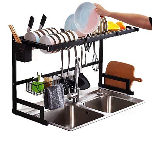 Sink rack, sink, stainless steel sink rack, kitchen rack, black drain rack, tableware rack, including: tableware rack, dish rack (sink size ≤32.5 inches, black)