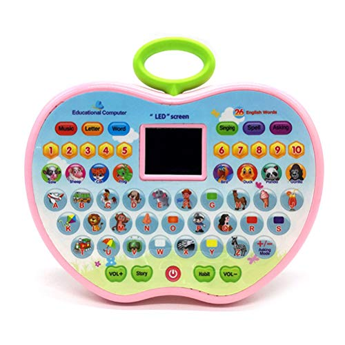 VGRASSP Educational Computer Laptop Toy for Kids - Apple Shaped - LED Display and Fun Music - Learning Alphabets, Numbers, Words, Animals and Story - Color As Per Stock