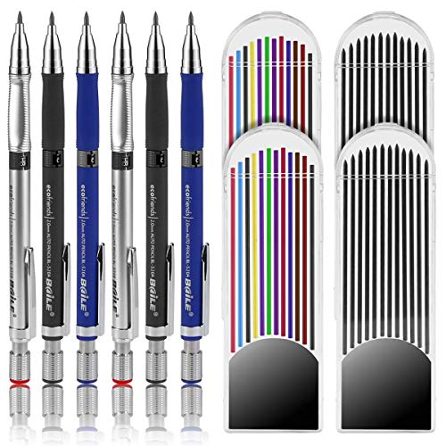 BILLIOTEAM 6 Pieces 2.0 mm Mechanical Pencil 3 Colors with 4 Cases Lead Refills, 2 Color and 2 Black Refills for Draft Drawing, Writing, Crafting, Art Sketching and mixed media art