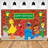 Vinyl 7x5ft Brick Wall 1st 2nd Boy Girl First Second Happy Birthday Party Banner Photo Backgrounds Sesame Street Photography Backdrops Baby Shower Decoration Supplies Photo Booth Props
