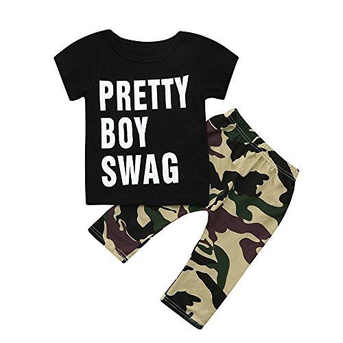 Tyoby Kinderanzug Kleines Junge Mädchen Unisex Kurzärmeliges T-Shirt mit Camouflage-Print + Hose Zweiteiliges Set(Schwarz,100)