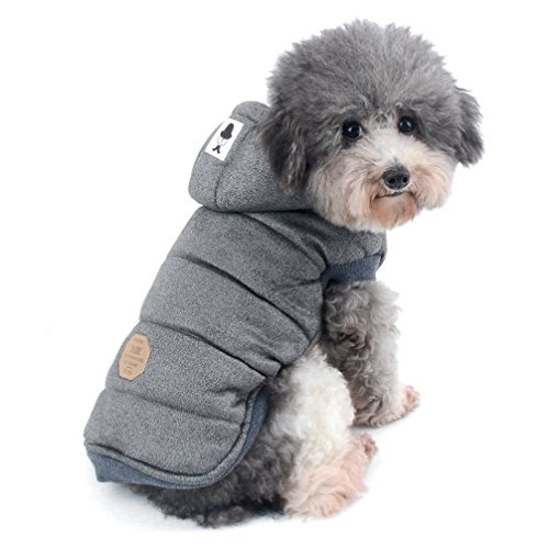Ranphy Dog Winter Fleece Coat Cold Weather Jacket for Small Medium Dogs Pet Padded Vest Coat Grey S (This Style Run Small,pls Choose one Size Larger)