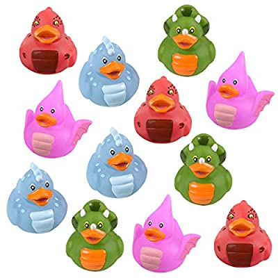"""Kicko Dinosaur Rubber Duckies - Pack of 12 Assorted 2"""" Dino Ducks for Kids Party Favors, on Birthdays, Baby Showers, All-Time Favorite Bath Companion for Summer Beach and Pool Activity"""