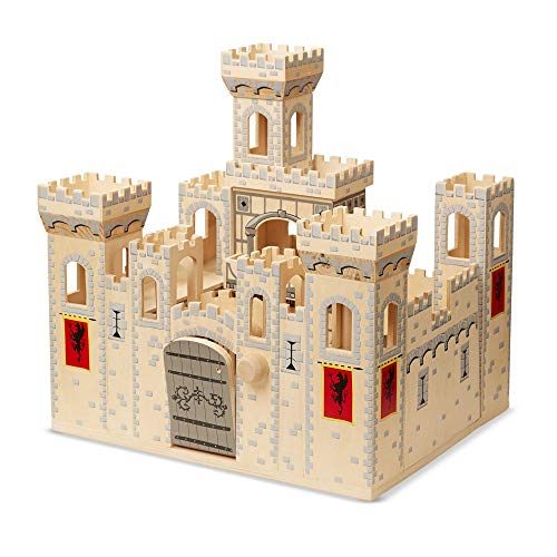 Melissa & Doug Deluxe Folding Medieval Wooden Castle - Hinged for Compact Storage