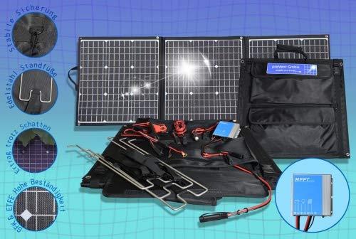 preVent GmbH Solartasche ETFE Oberfläche 135W Solarmodul faltbar mit MPPT Laderegler viel Zubehör Solarkoffer Laderegler IP67 Laderegler