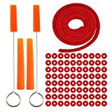 Piano Tuning Fixing Tools Kit Includes 90 Piano Tuning Keyboard Felt Washers, 1 Red Temperament Strip, 2 Orange Mutes Handles and 2 Orange Long Rubber Mutes
