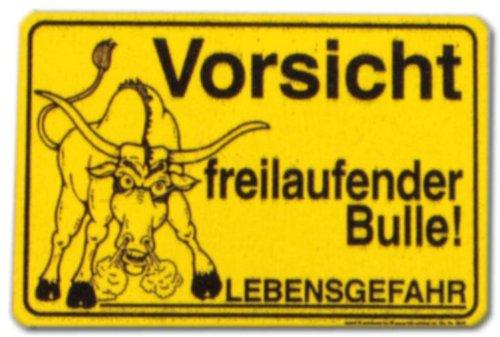 Hinweisschild Gelb - Vorsicht freilaufender Bulle Lebensgefahr - Bulle Kuh Kühe Bauer Bauernhof Rind Rinder Schild Warnschild Warnzeichen Arbeitssicherheit Türschild Tür Kunststoff Kunststoffschild Geschenk Geburtstag