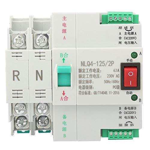 Interruptor automático de transferencia automática de potencia dual de 230 V CA 230 V 2 P de montaje en carril DIN de alta sensibilidad 63/80 / 100A para fuente de alimentación(63A)