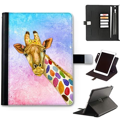 Multicolour Spot Giraffe Case For Apple iPad Pro 12.9 (2020) (4th Gen) 12.9 inch, Watercolour Art Print leather iPad Case, side flip wallet case, 360 swivel folio cover
