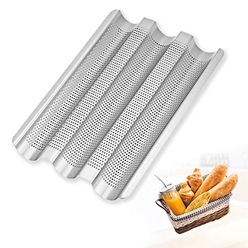JASOUP Professional French Bread Pan Stainless Steel Perforated Baguette Pans for Baking Nonstick 3 Wave Loaves Loaf Bake Mold for Bread Making Oven Toast CookingSilver sliver