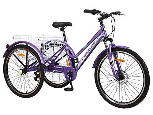 DoCred Adult Mountain Tricycle, 7 Speed Three Wheel Bikes, 24/26 Inch Adults Trikes Men's Women's Cruiser Trike Bike with Large Basket (Purple, 26'' Tire/7-speed)