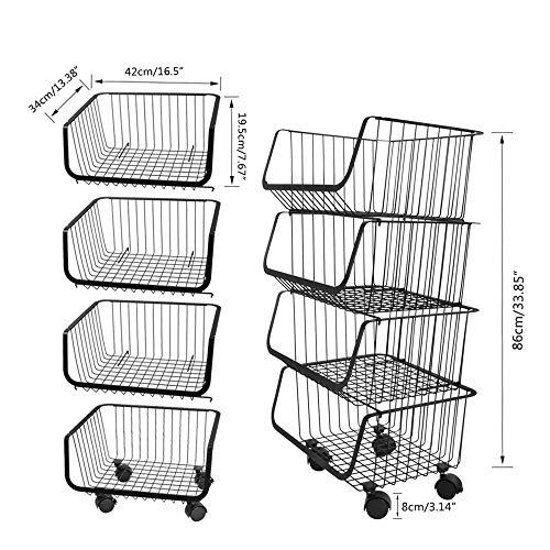 4 lagen mandje, rolbare stapelbare opslagbak met vooraf geïnstalleerde wielen, bijkeuken opslagorganizer voor pantry, kasten, slaapkamers