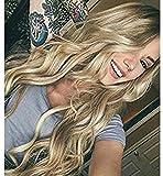 Vébonnie - Peluca para mujer con encaje frontal, color rubio miel con raíces oscuras, el mejor pelo sintético para un aspecto muy natural
