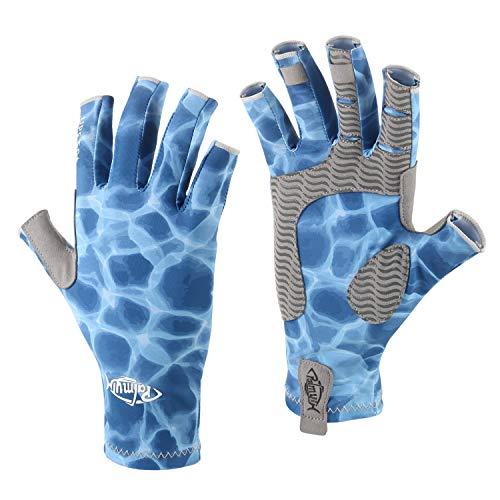 Palmyth UV Protection Fishing Fingerless Gloves UPF50+ Sun Gloves Men Women for Kayaking, Hiking, Paddling, Driving, Canoeing, Rowing (Water Wave, Small)