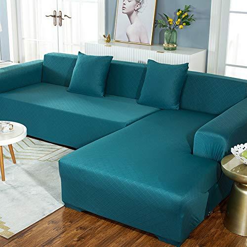 DANODA Sofabezug Verdicken Atmungsaktiv L Form Ecksofa Sofa Spannbezug Stretch Sofabezug Set für 1-5 Sitzer Sofa(Wenn Ihr Sofa für L-Form Ecksofa ist, müssen Sie Zwei kaufen),Blau,2Set45*45cm
