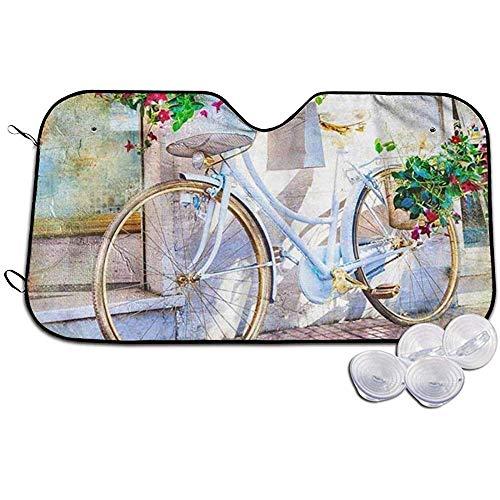 Not Applicable Car Sunshade,Künstlerisches Blumenfahrrad-Weißes Fahrrad Mit Blumen-Praktischen Fahrzeug-Fenster-Sonnenschutz 70X130CM