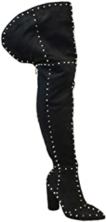 Liliana INES-4 Thigh High Over Knee Round Toe Spikes Studs Chunky Heel Boots