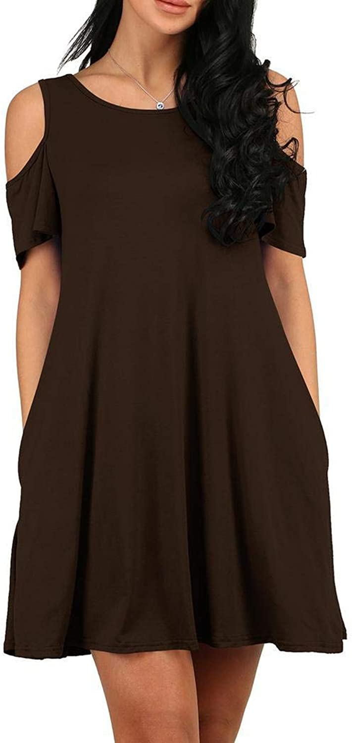 Qenci Women's Cold Shoulder Tunic Top TShirt Casual A Line Swing Dress with Pockets