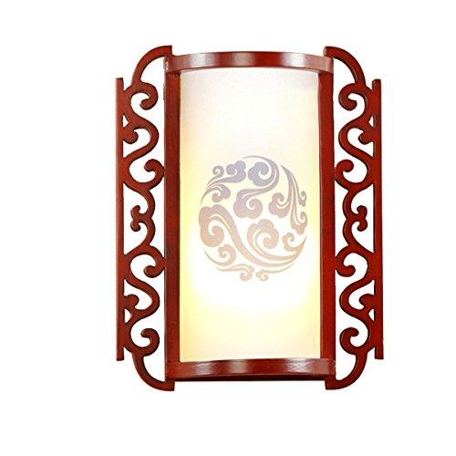 Kronleuchter Aplique de Pared de Estilo Chino Aplique de Estilo Europeo Aplique de balcón LED de Pasillo de Lado Europeo, Color de Madera de melocotón Rojo, 10.2 * 3.9 * 15.0 Pulgadas