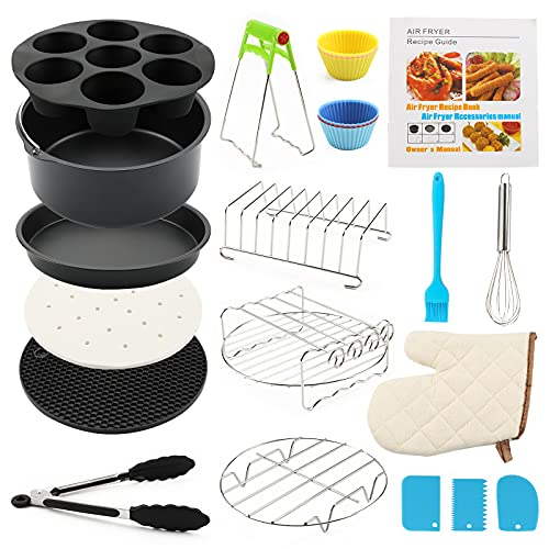 An image of the 18 Pack Air Fryer Accessories 8 Inch, General Air Fryer Accessory Set Compatible With 3.2-5.9QT Philips, COSORI, Tower Airfryer with Cake Pan, Pizza Pan, Skewer Holder, Cotton Oven Mitt, Gifts