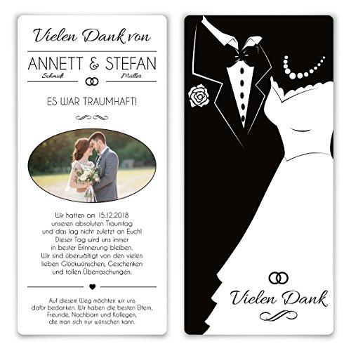 40 x Hochzeit Dankeskarten Danksagungskarten Danksagung Foto individuell - Black and White Brautpaar Weiß
