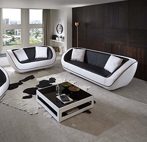 SAM 2tlg Polstergarnitur Navarra, schwarz/weiß, 3-Sitzer Sofa + 2-Sitzer Sofa inkl. Kissen, futuristisches Design, pflegeleicht