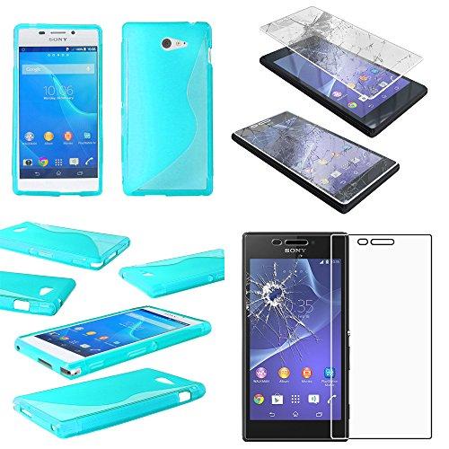 ebestStar - Funda Compatible con Sony Xperia M2 D2302 D2303 Carcasa Gel Silicona Motivo S-línea, S-Line Case Cover, Azul + Cristal Templado Protector Pantalla [Aparato: 139.7 x 71.1 x 8.6mm, 4.8'']