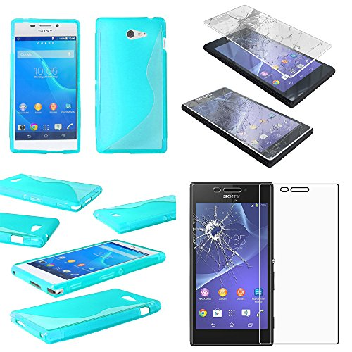 ebestStar - kompatibel mit Sony Xperia M2 Hülle D2302 D2303 TPU S-line Style Silikongel Handyhülle, Schutzhülle Hülle Cover, Blau + Panzerglas Schutzfolie [Phone: 139.7 x 71.1 x 8.6mm, 4.8'']