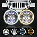 """7"""" Round CREE LED Headlights with Halo White DRL & Amber Turn Signal for Jeep Wrangler JK TJ LJ CJ Rubicon Sahara Willys Hummer H1 H2"""