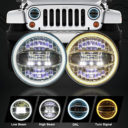 "7"" Round CREE LED Headlights with Halo White DRL & Amber Turn Signal for Jeep Wrangler JK TJ LJ CJ Rubicon Sahara Willys Hummer H1 H2"