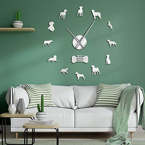 Brittany Spaniel Dog Home Decor DIY Giant Wall Clocks American Brittany Modern Frameless Wall Watch Non Ticking for Living Room(Silver,27inch) Regalo de cumpleaños, Silencioso, Pegatina de Pared, Ar