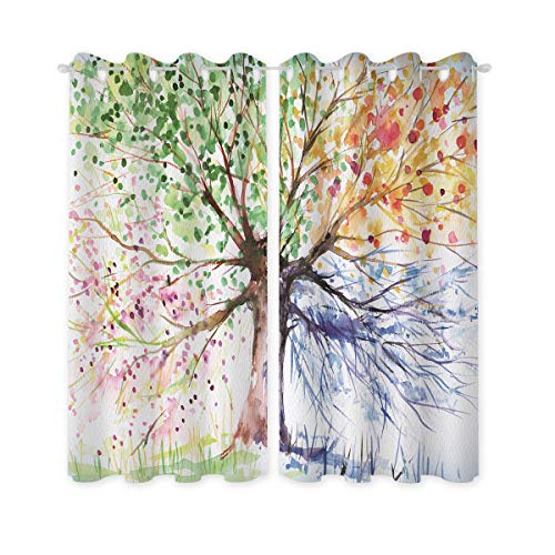Riyidecor Watercolor Tree Windows Curtains Blackout Colorful Nature Abstract Art Navy Crayon Four Seasons Spring for Living Room Bedroom Window Drapes Treatment Fabric (2 Panels 52 x 84 Inch)