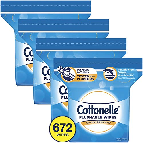 Cottonelle Flushable Wet Wipes, Resealable, 4 Packs of 168 Wipes (672 Wipes Total)