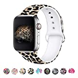 MITERV Compatible with Apple Watch Band 38mm 40mm Soft Silicone Fadeless Pattern Printed Replacement Bands for iWatch Series 5,4,3,2,1 Leopard S/M